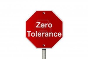Stop sign with 'zero tolerance'